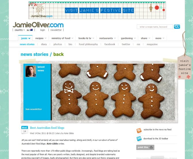 Best Australian Food Blogs, JamieOliver.com