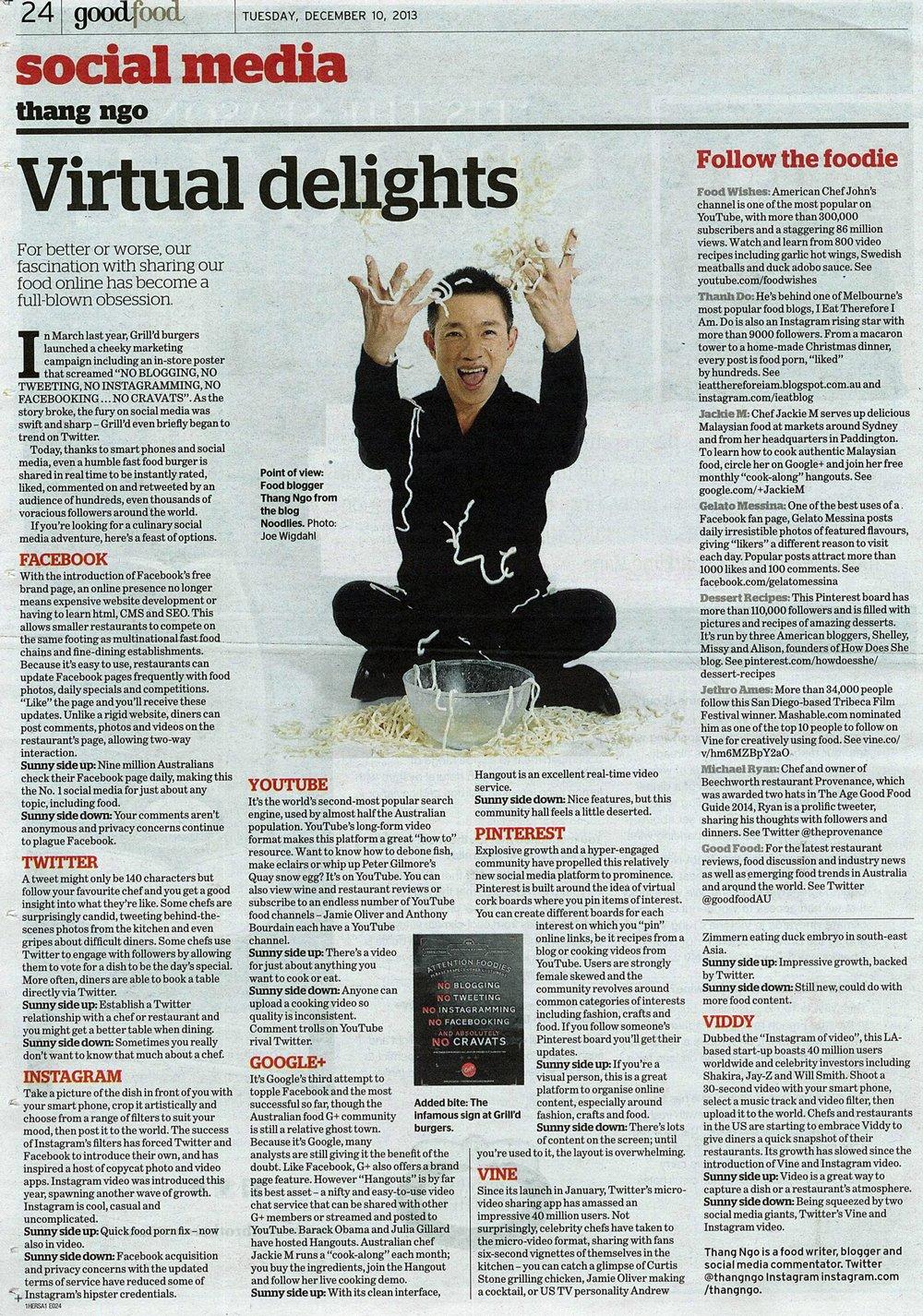 Virtual Delights, Good Food, Sydney Morning Herald