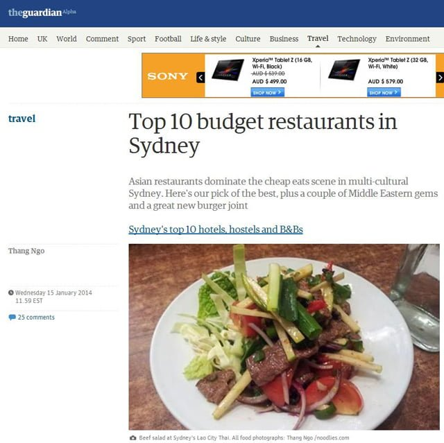 Top 10 budget restaurants in Sydney, The Guardian