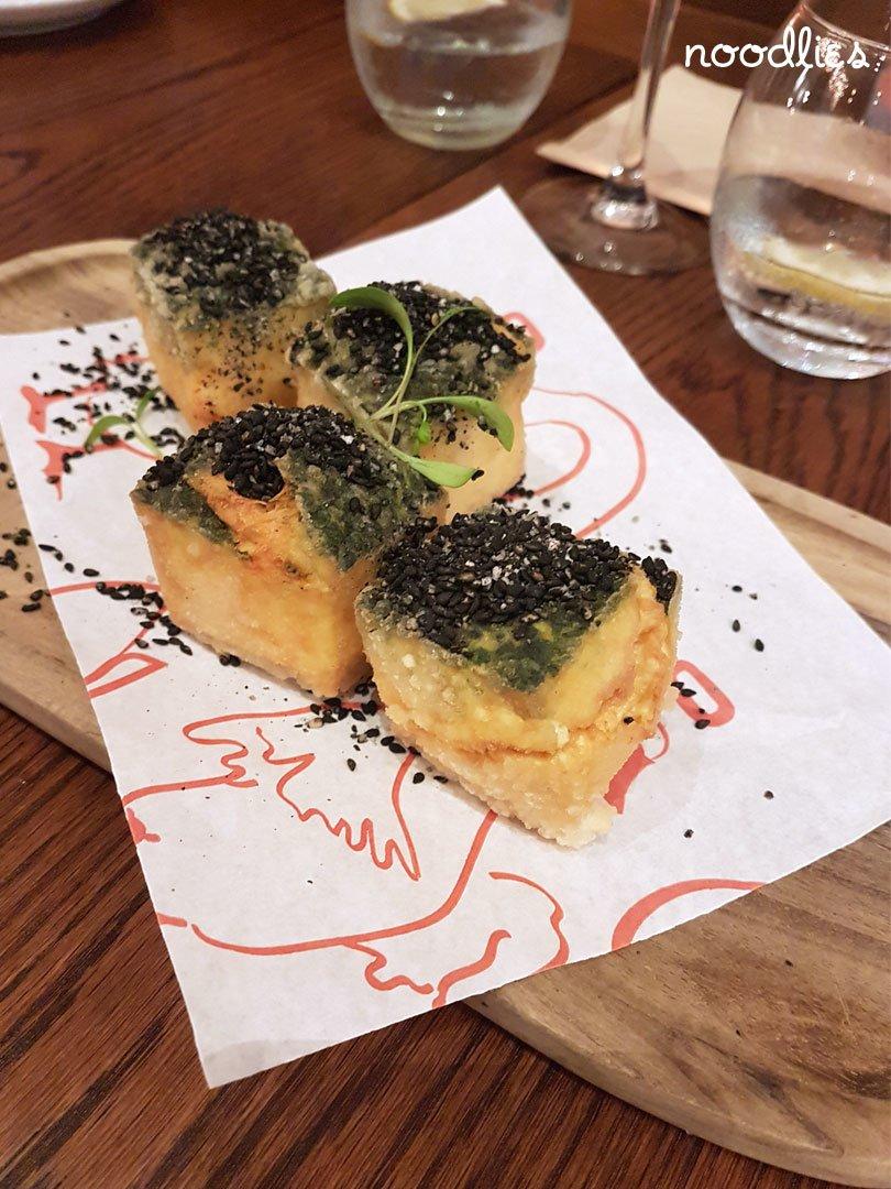 black sesame egg spinach tofu